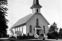 Black and white photo of a church