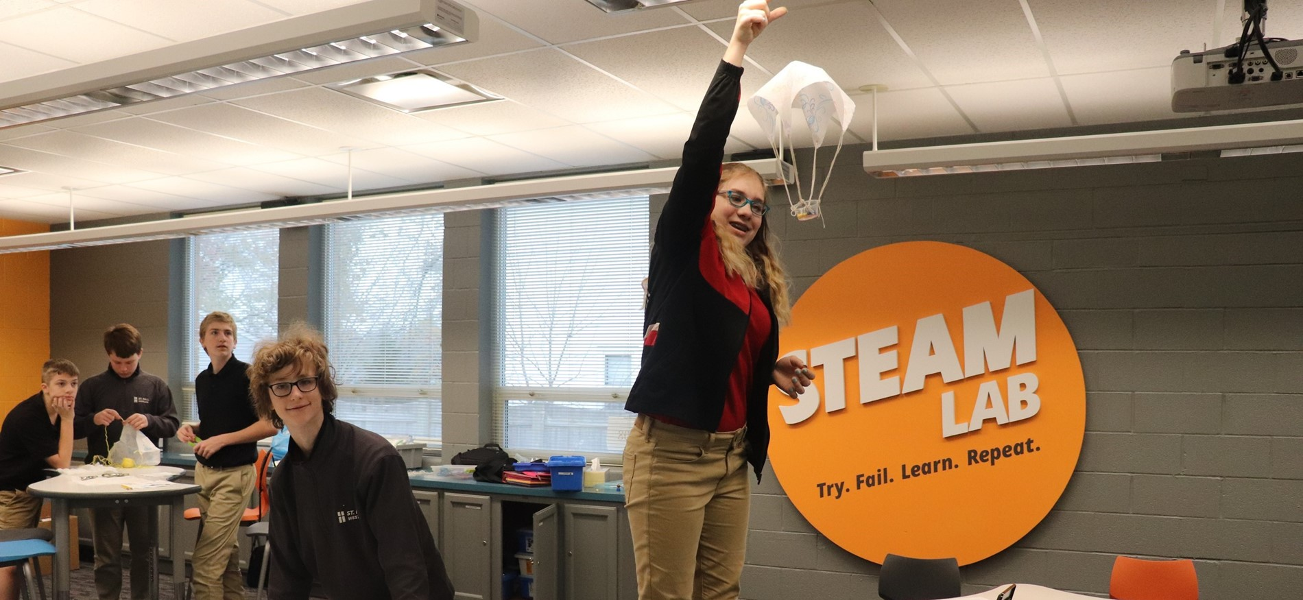 Student parachute in STEAM Lab